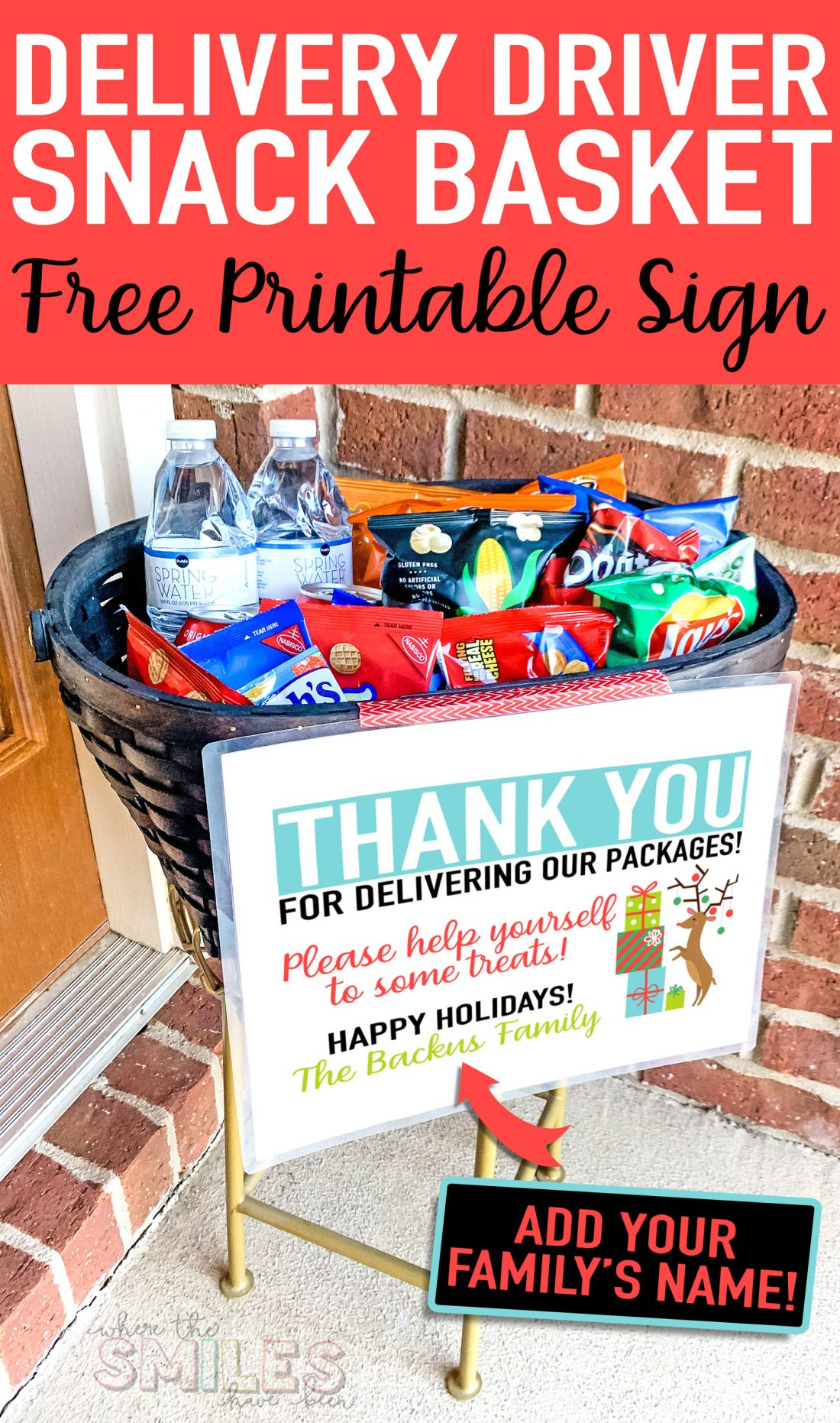 FREE Delivery Driver Snack Basket Printable Sign: Add Your Family's Name!