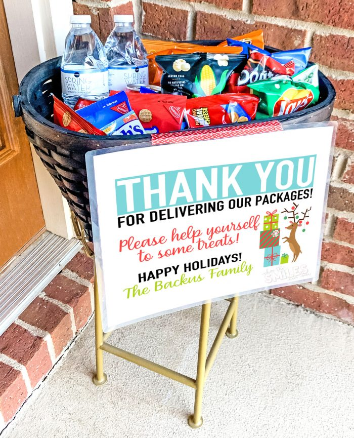 FREE Delivery Driver Snack Basket Printable Sign: Add Your Name!   Where The Smiles Have Been #freeprintable #deliverydriver #deliverydriversnackbasket #Christmas #Christmasprintable