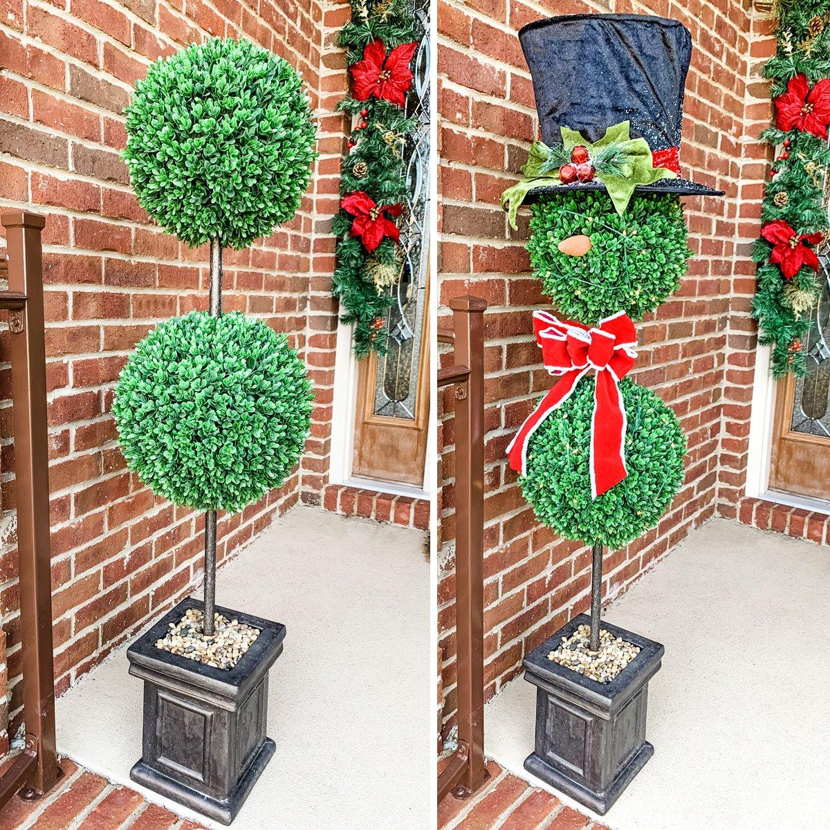 Easy Christmas Porch Decor: Topiary Snowmen