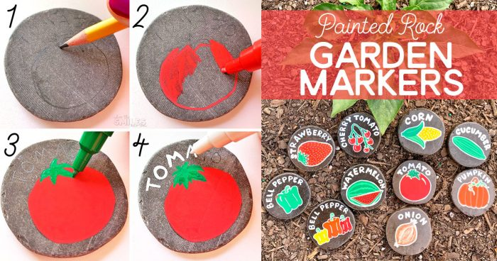 How to paint rocks and make DIY painted rock garden markers.