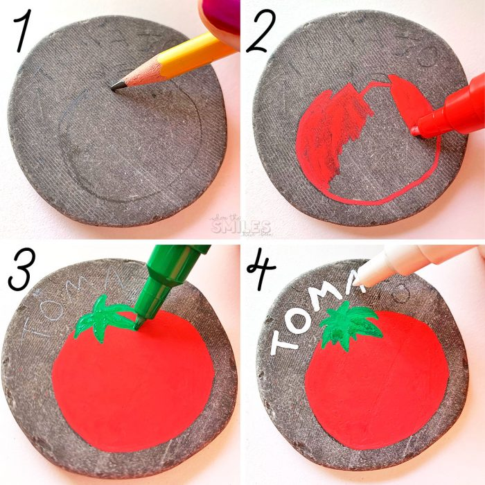 How to paint rocks to use as garden markers.