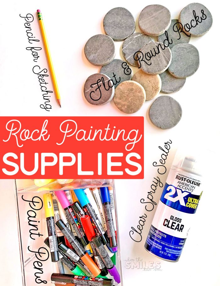 Rock painting supplies.