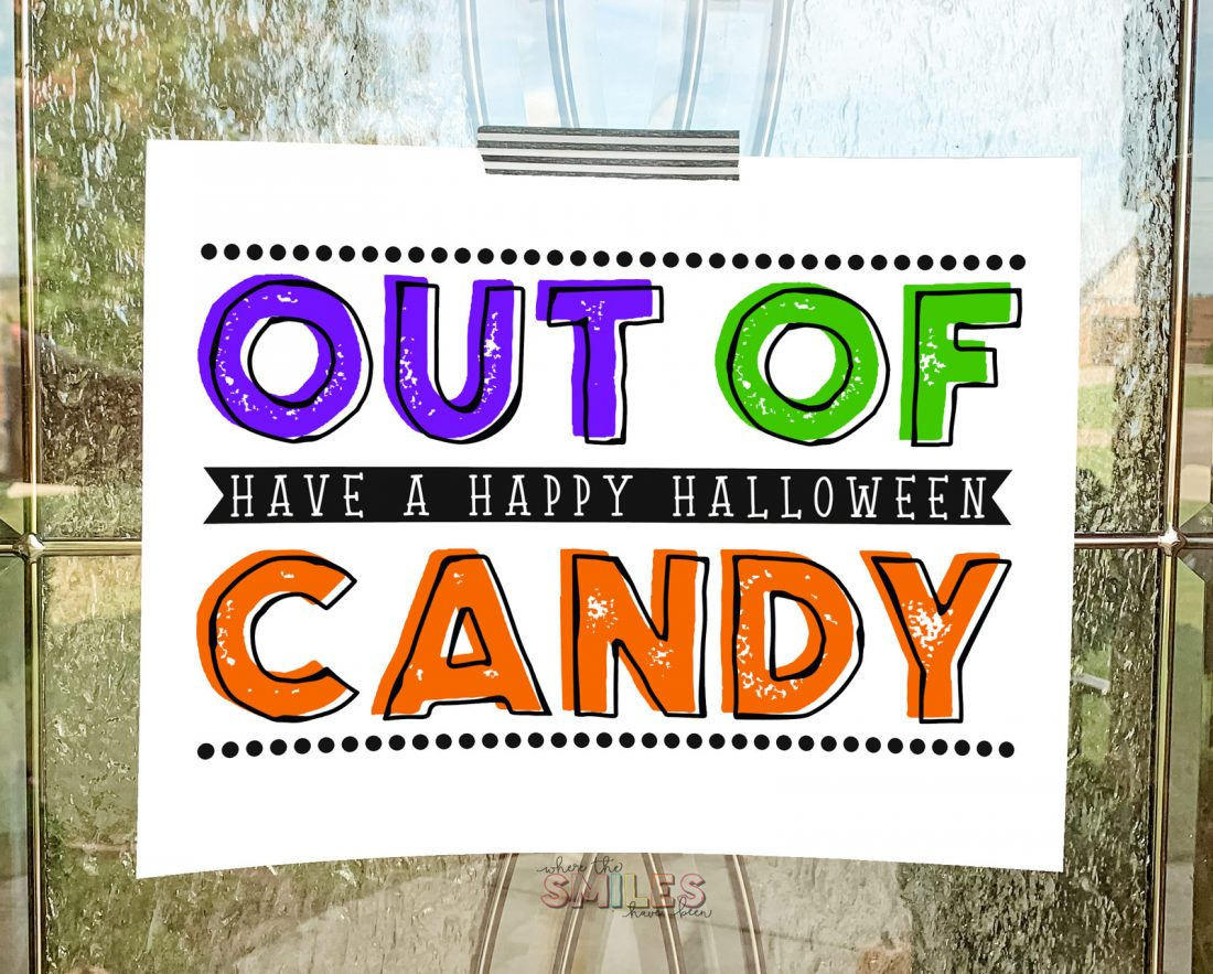 FREE 'Out of Candy' sign Halloween printable!